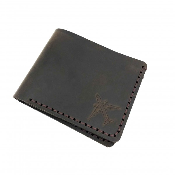 Wallet Face Airplane Brown