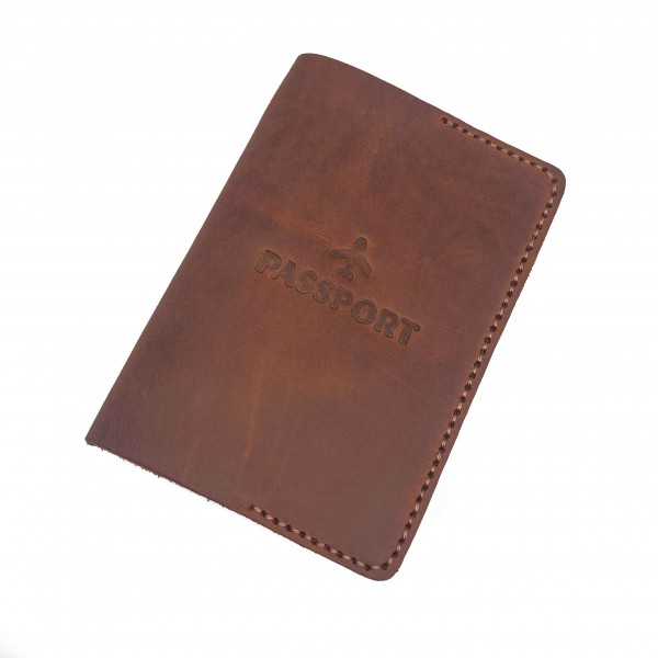 Passport Cover Brown Small Airplane