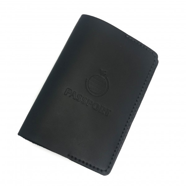 Passport Cover Black Globe