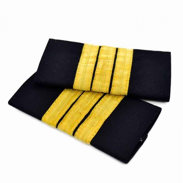 Pilot's Epaulets 3 Bars Metallized