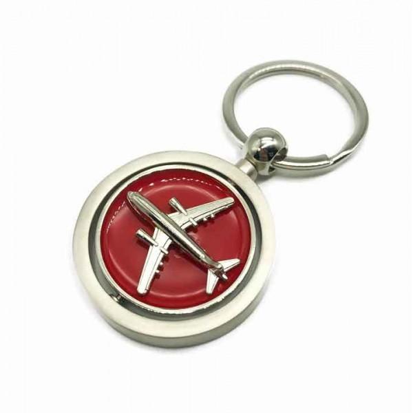 Keychain Swirling Airplane Red