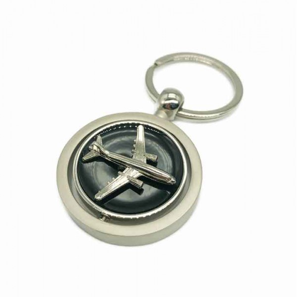 Keychain Swirling Airplane Black