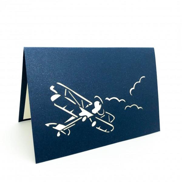 Postcard Biplane Blue