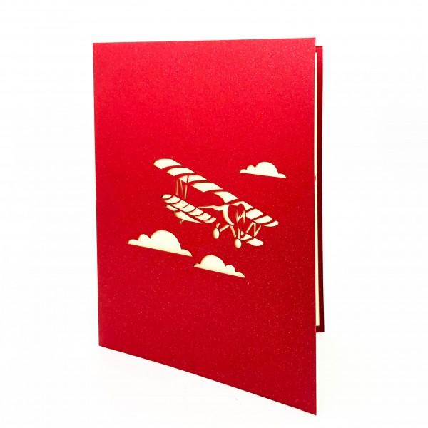 Postcard Biplane&Clouds