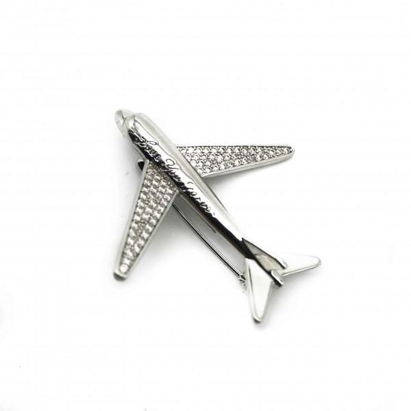Brooch Plane Silver Love