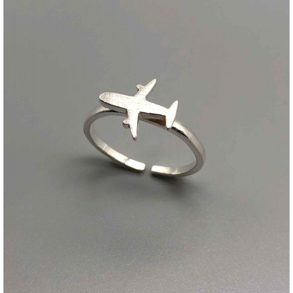 Ring Silver Airplane