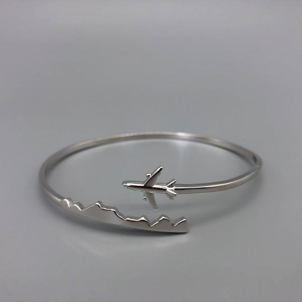 Silver Bracelet Plane&Mountains