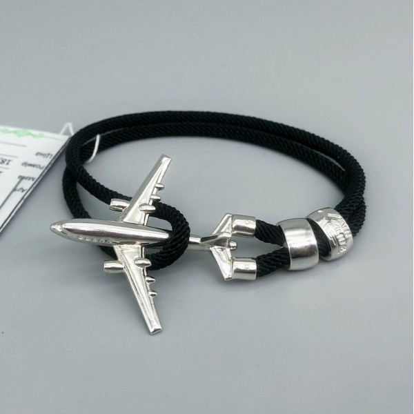 Bracelet Silver Plane Black