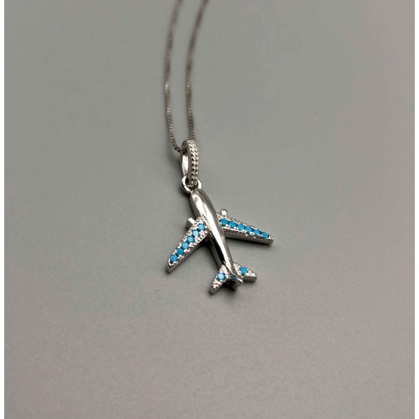 Necklace Silver Blue Airplane