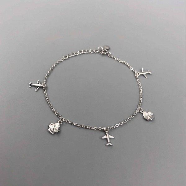 Silver Bracelet Airplanes and Clovers