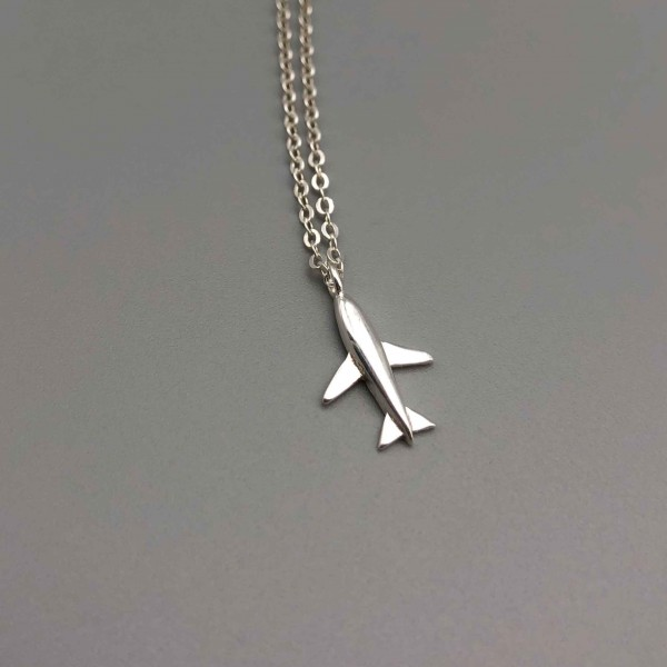 Necklace Silver Simple Plane