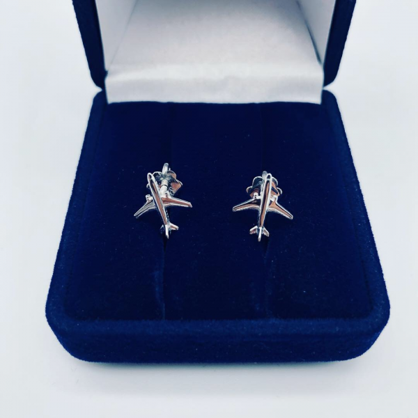 Earrings White Gold Airplanes