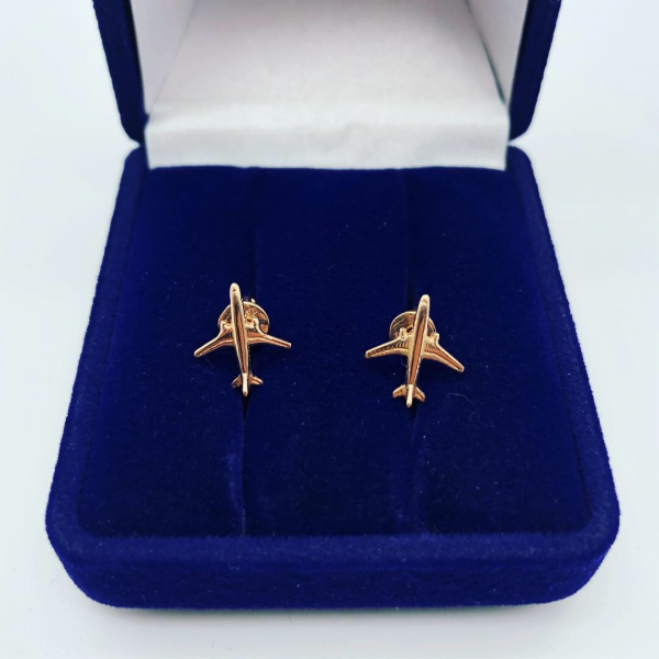 Earrings Gold Airplanes
