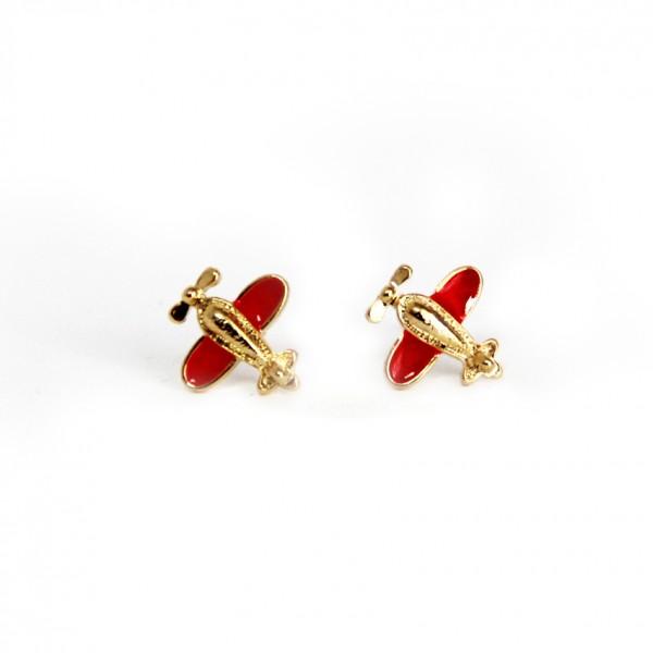 Earrings Red Bee