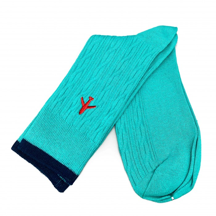 Aviation Socks turquoise with a red plane