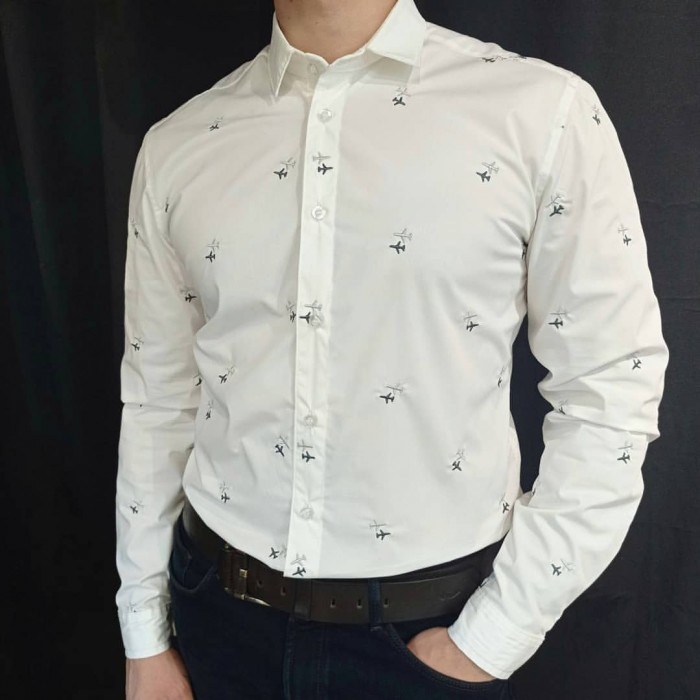 Aviation Shirt Male Milky
