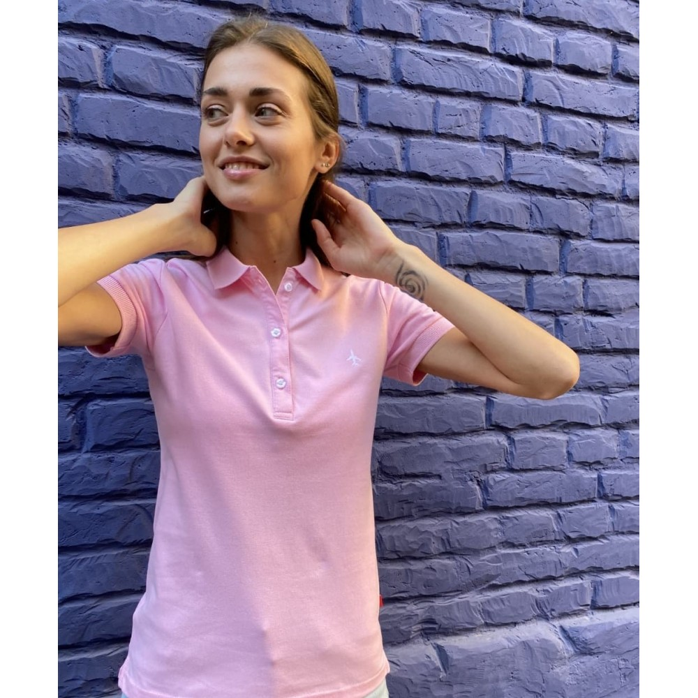 Minimalistic Polo With Plane Pink Female