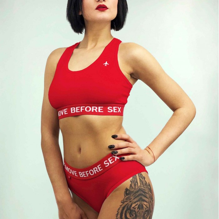 """Lingerie """"Remove Before Sex"""" Red"""