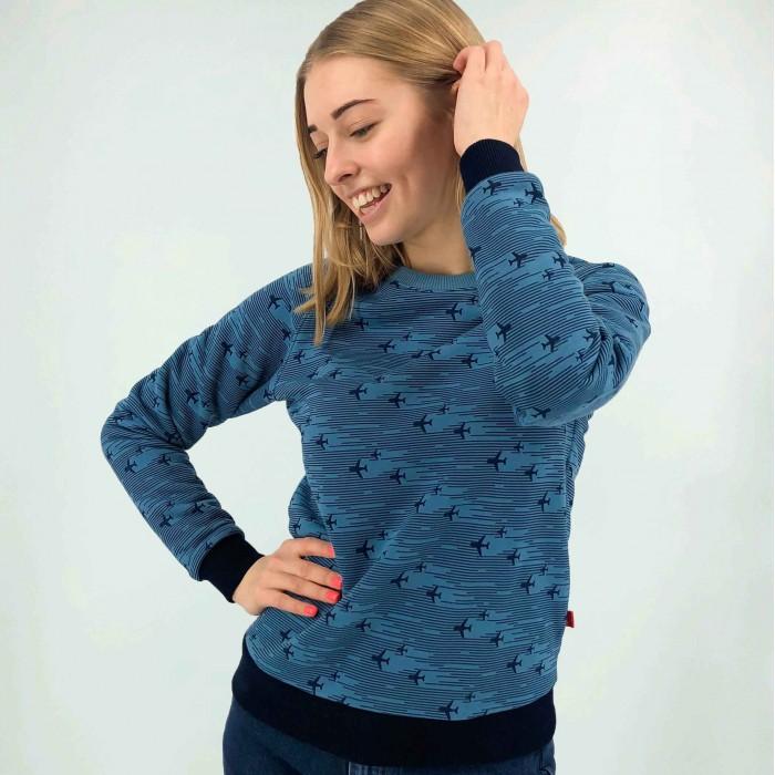 Sweatshirt with printed airplanes Blue Female
