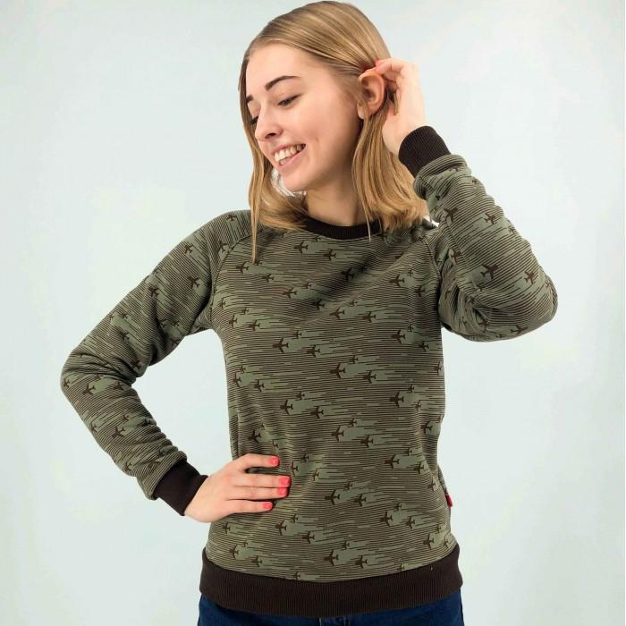 Sweatshirt Khaki with printed airplanes Female