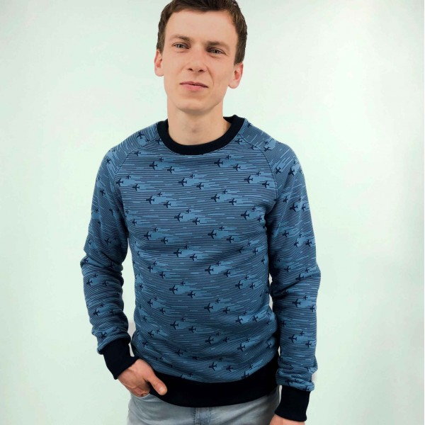 Sweatshirt with printed airplanes Blue Male