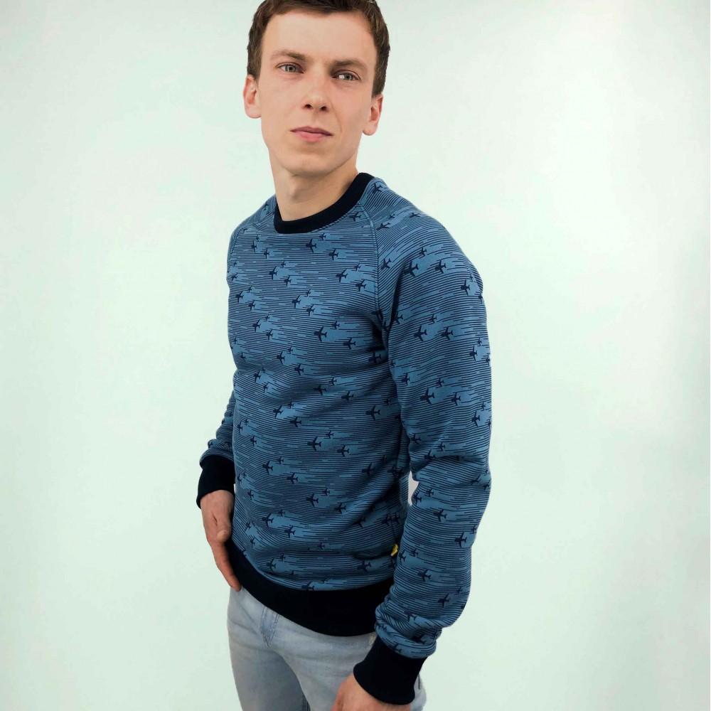 Sweatshirt with printed airplanes Blue Male