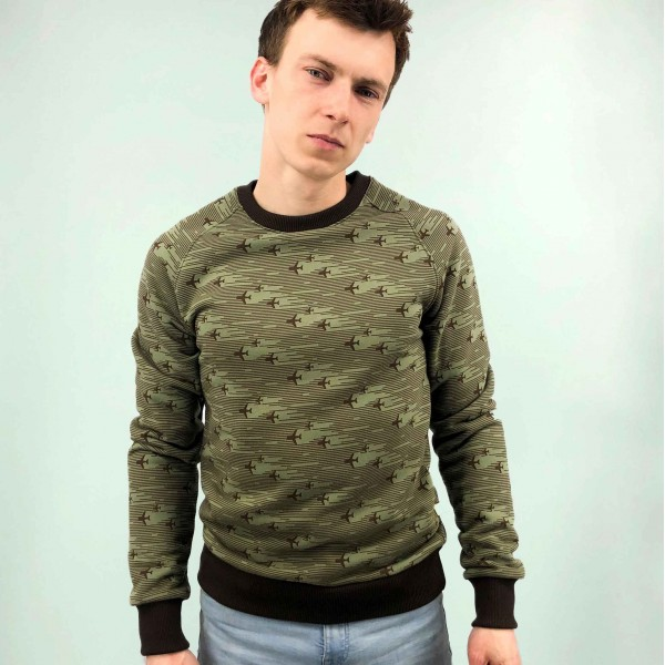 Sweatshirt Khaki with printed airplanes Male