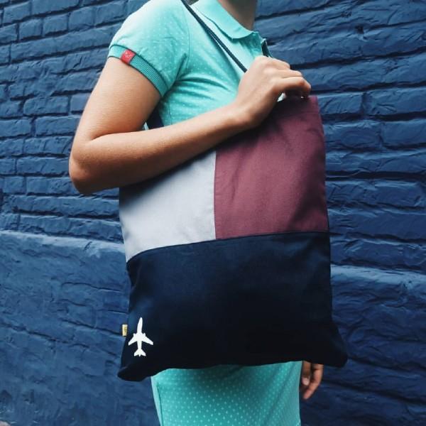 Shopper Bag With Airplane Bordo