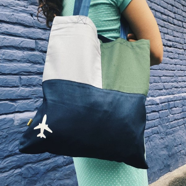 Shopper Bag With Airplane Green