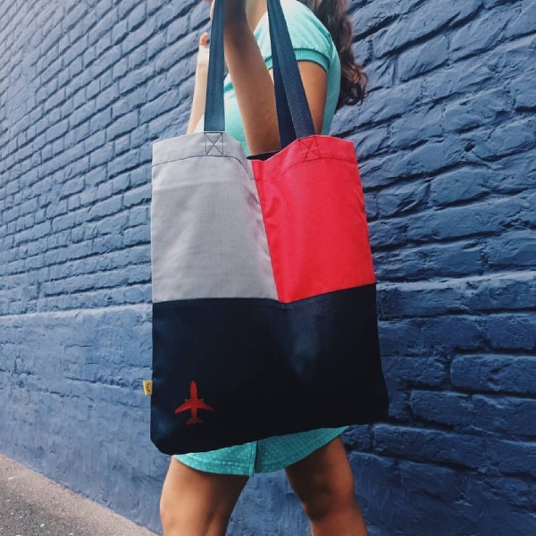 Shopper Bag With Airplane Red