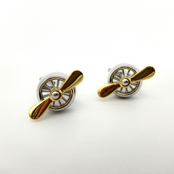 Cufflinks With Two Gold Blades