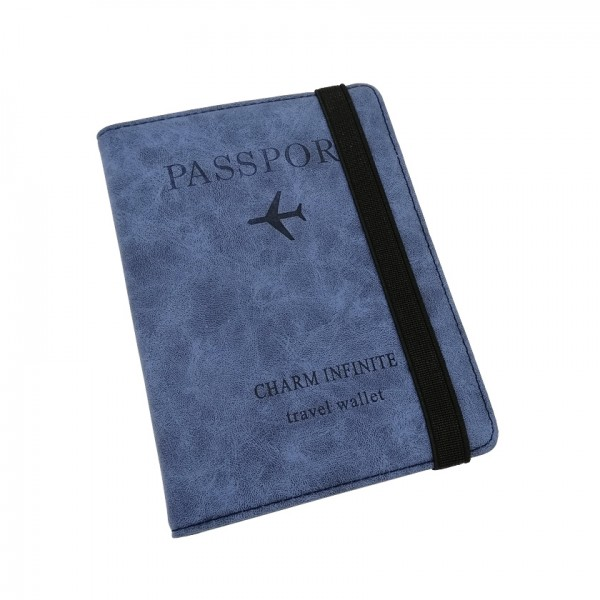 Passport Cover Travel Wallet Blue