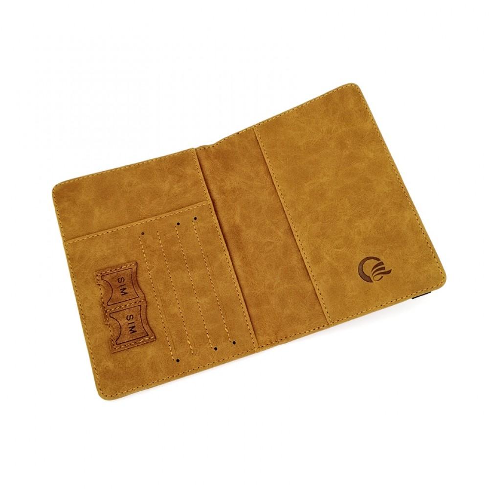 Passport Cover Travel Wallet Brown