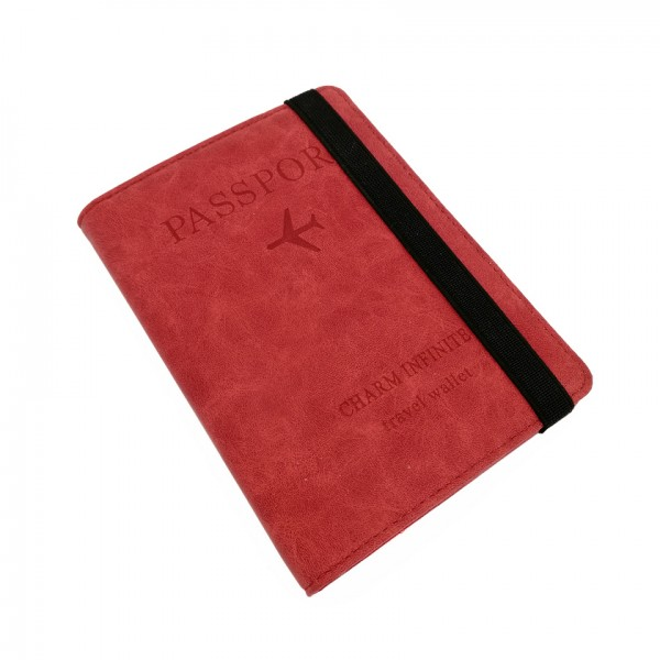 Passport Cover Travel Wallet Red