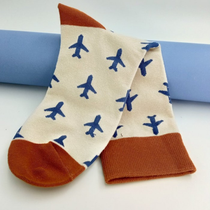 Beige Socks With Planes