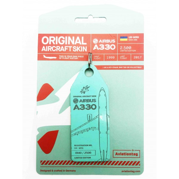 Keychain Aviationtag Airbus A330-UR-WRQ Turquoise