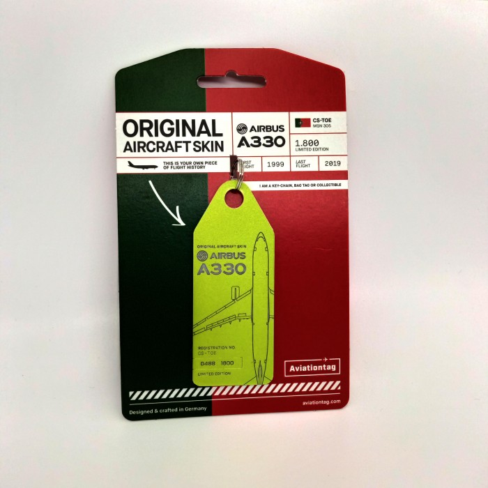 Keychain Aviationtag Airbus A330 CS-TOE Green