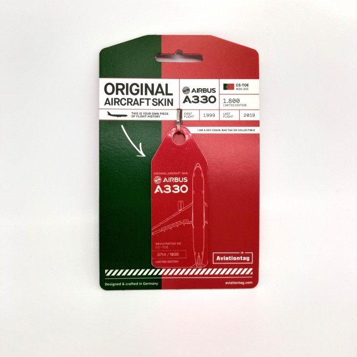 Keychain Aviationtag Airbus A330 CS-TOE Red