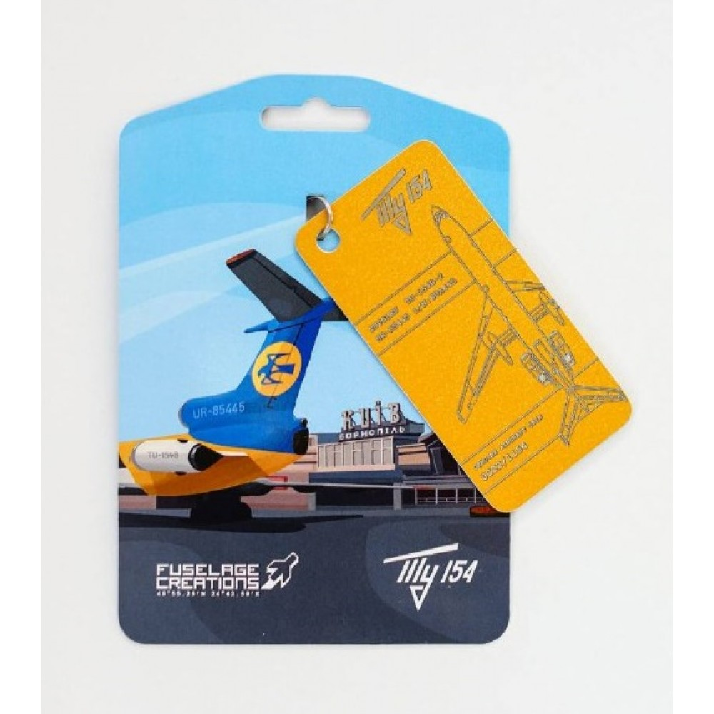 Keychain Aviation tag Tu-154 Yellow