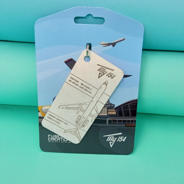 Keychain Aviation tag Tu-154 White