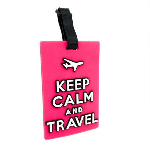 Luggage Tag Keep Calm Pink