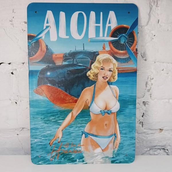 """Pin Up metal plate """"Aloha"""""""