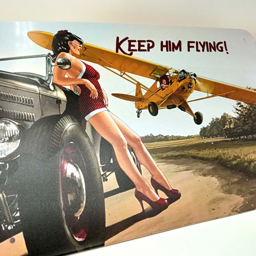 """Pin Up metal plate """"Keep him flying"""""""
