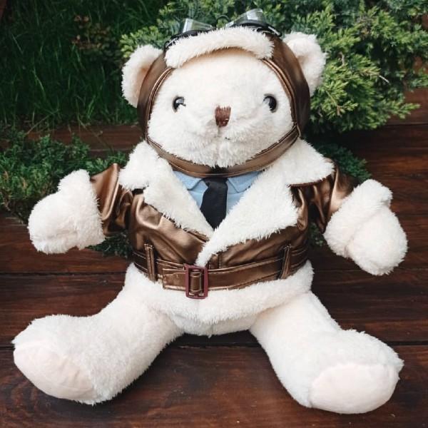 Toy White Bear Aviator