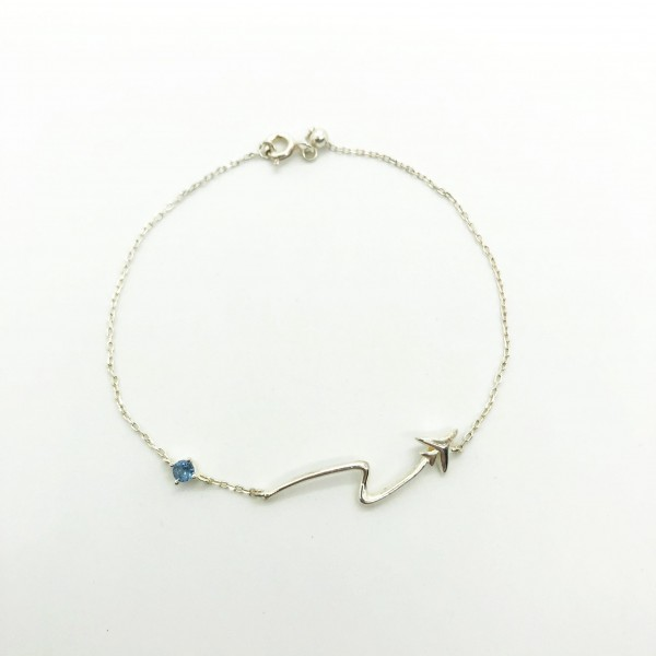 Silver Bracelet Airplane And Blue Star