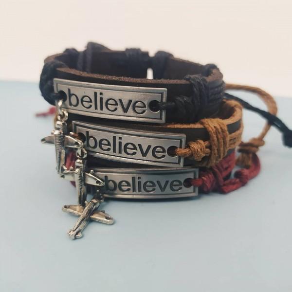Leather Bracelet Believe