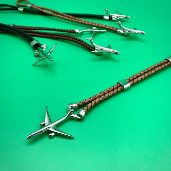 Leather Bracelet With Plane