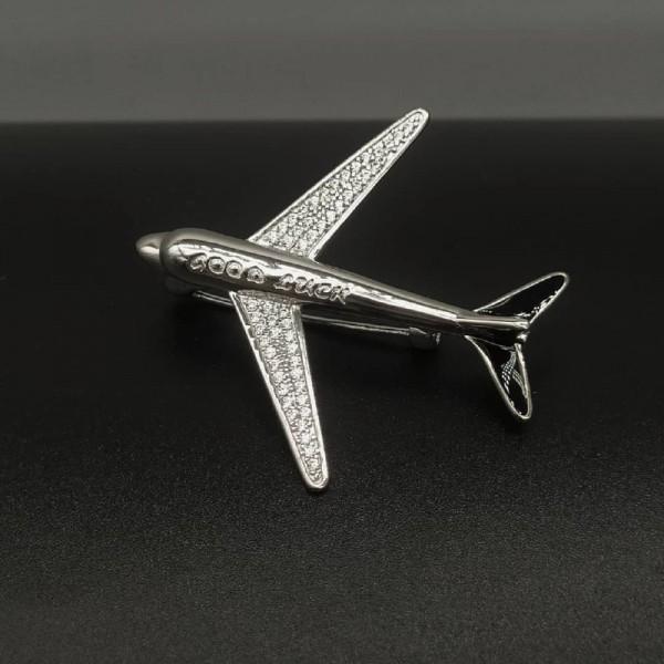 Silver Brooch Plane Good Luck