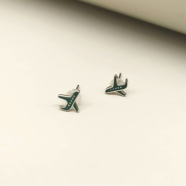Earrings Plane Dark Green
